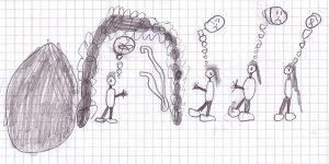 Bleistiftzeichnung von drei Frauen mit traurigen Gesichtern in den Denkblasen über sich kommen zum Eingang des offenen Grabes, in dem ein Engel steht, in dessen Denkblase ein durchgestrichener Körper zu sehen ist - neben ihm die Bandagen des Leichnams.