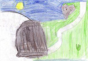 Blauer Nachthimmel mit gelbem Mond, ein Weg schlängelt sich durch eine grüne Wiese zur Grabhöhle Jesu; der herzförmige Felsen liegt ein Stück entfernt.