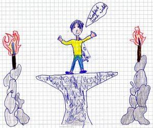 Ein junger Mann steht in Supermann-Pose auf einem Podest, der fast wie ein Amboss aussieht, und sagt: Fürchtet euch nicht! Rechts und links stehen Steinsäulen mit Fackeln.