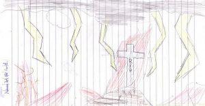 Drei sehr klein dargestellte Frauen gehen unter einem dunklen Himmel, aus dem bizarre Blitze zucken, durch eine unwegsame Landschaft zum Grab. Im Hintergrund steht groß das leere Kreuz Jesu.