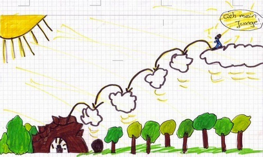 Von Wolke zu Wolke soll Jesus wieder auf die Erde springen, meint hier ein Junge