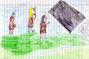 """Drei Frauen mit Fragezeichen bzw. """"Hä?"""" über dem Kopf gehen über eine grüne Wiese unter blauem Himmel auf ein Grab zu, von dem die schwarze Grabplatte abgedeckt ist."""