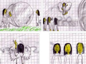 Ostern als Comic Strip in vier Bildern, wie im Text erklärt.