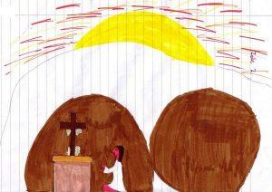 Vor einer riesigen aufgehenden gelben Sonne mit roten Strahlen nimmt der weiße Grabhügel fast das ganze Bild ein. Ein brauner Stein liegt rechts von der braunen Öffnung des Grabes, wo man einen Mann vor einem Altar knien sieht, auf dem ein Kreuz steht, an dem Leinentücher hängen.