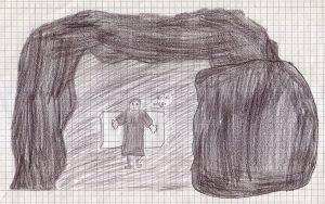 Die Grabhöhle nimmt das ganze Bild ein, im Eingang ist ein schulterzuckender Mann zu sehen, der die Arme ausbreitet und sagt: Er ist weg.