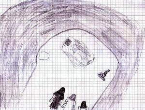 Man sieht durch die Öffnung der Grabhöhle nach innen, wo eine Art Tisch mit Leinentüchern steht, vor dem ein Mann kniet, während die Frauen nebeneinander am Eingang stehen.