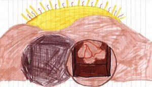 Die Grabhöhle vor einer riesenhaften aufgehenden Sonne ist geöffnet, links liegt der Stein, durch die Öffnung sind die Leinentücher Jesu zu sehen.