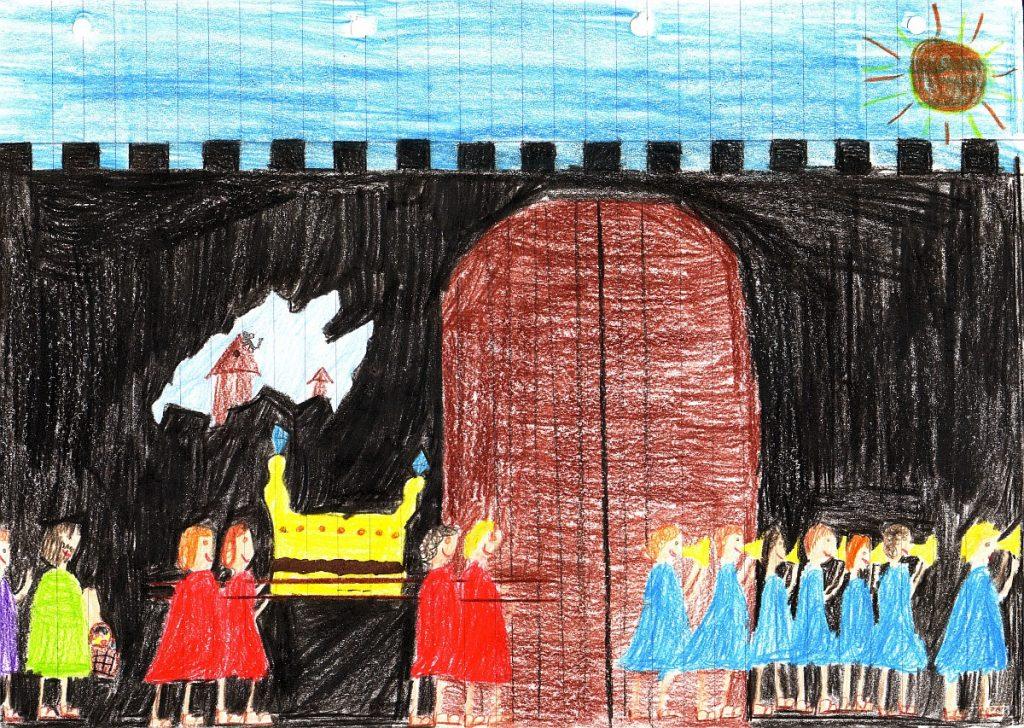 Das Bild zeigt eine schwarze hohe Stadtmauer, in der schon ein Loch ist, während die Israeliten mit Posaunenklang um die Stadt herumziehen.