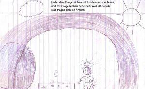 Durch den geöffneten Grabeingang, hinter dem eine Wolke und die Sonne zu sehen sind, sieht man einen knienden Mann mit Heiligenschein vor der Stelle, wo nur noch Jesu Leinentücher liegen. Und die Fragen, die nicht dargestellt sind, fragen sich: Was ist da los?