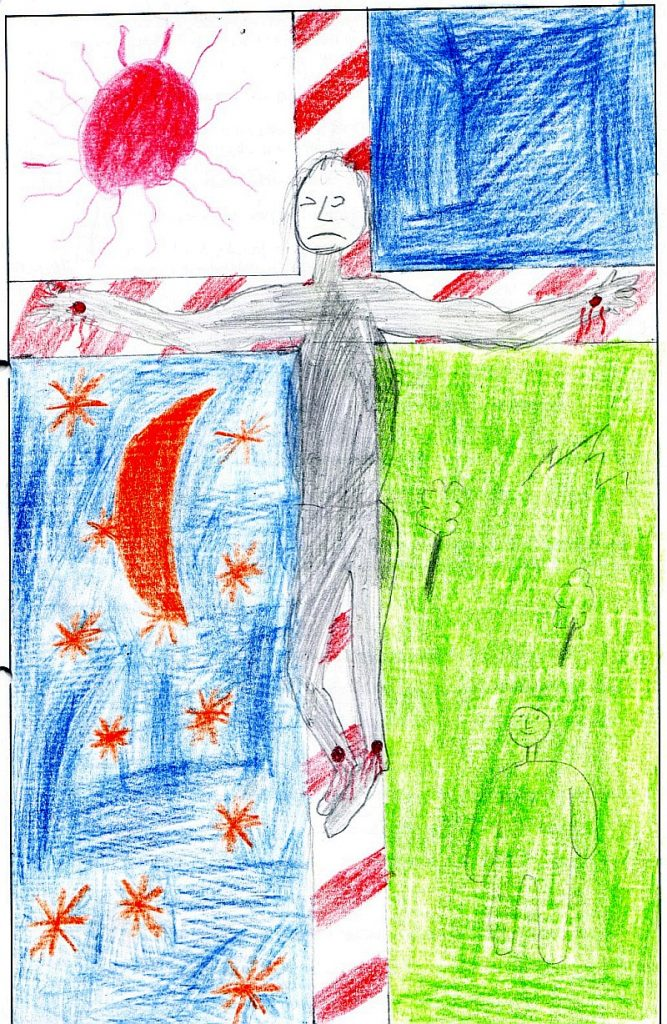 Das Parament zeigt Jesus mit leidendem Gesicht am Kreuz, das die Fläche des Bildes in vier Teile teilt. Links oben eine rote Sonne, rechts oben eine blaue Fläche, links unten ein blauer Himmel mit Mond und Sternen in rot, rechts unten lachender Mensch auf grüner Wiese mit Bäumen und einem Berg.