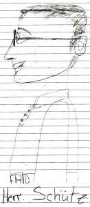 Ein gezeichnetes Schüler-Portrait von Pfarrer Helmut Schütz