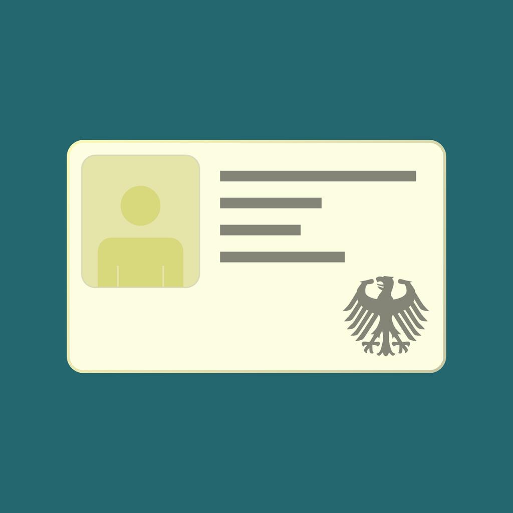 Stilisierter Ausweis mit Lichtbild und Bundesadler