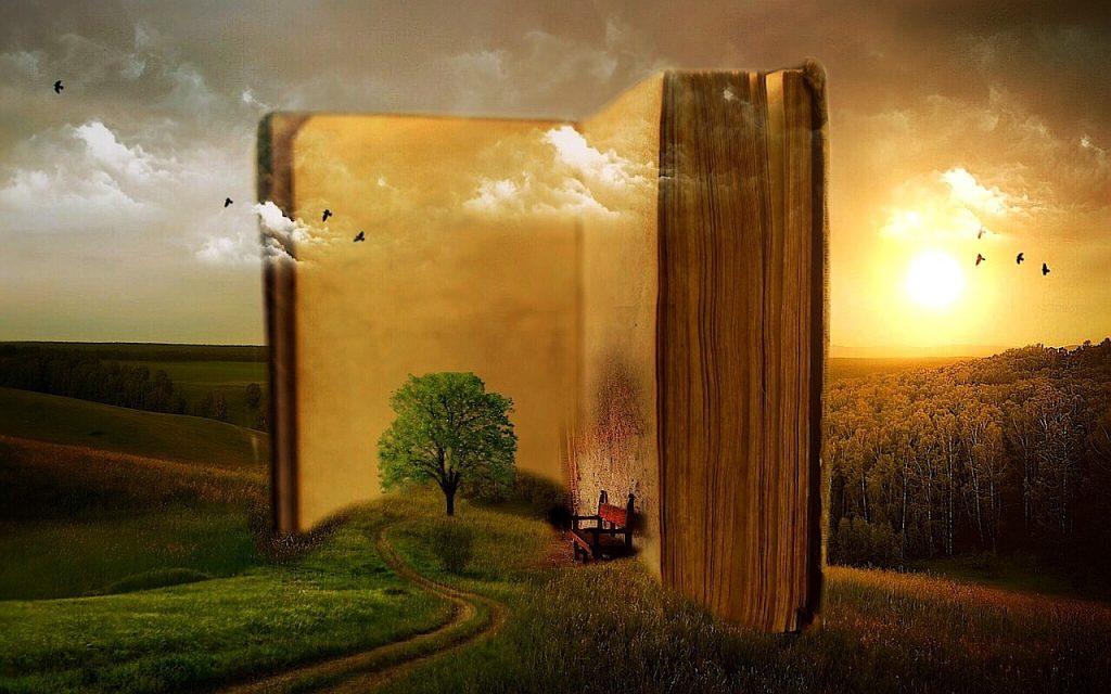 Ein riesiges Buch steht aufgeschlagen in einer wunderschönen Landschaft, ein Feldweg führt hinein, wo ein Stuhl in den Nähe eines Baumes steht: Dort kann man gemütlich lesen.