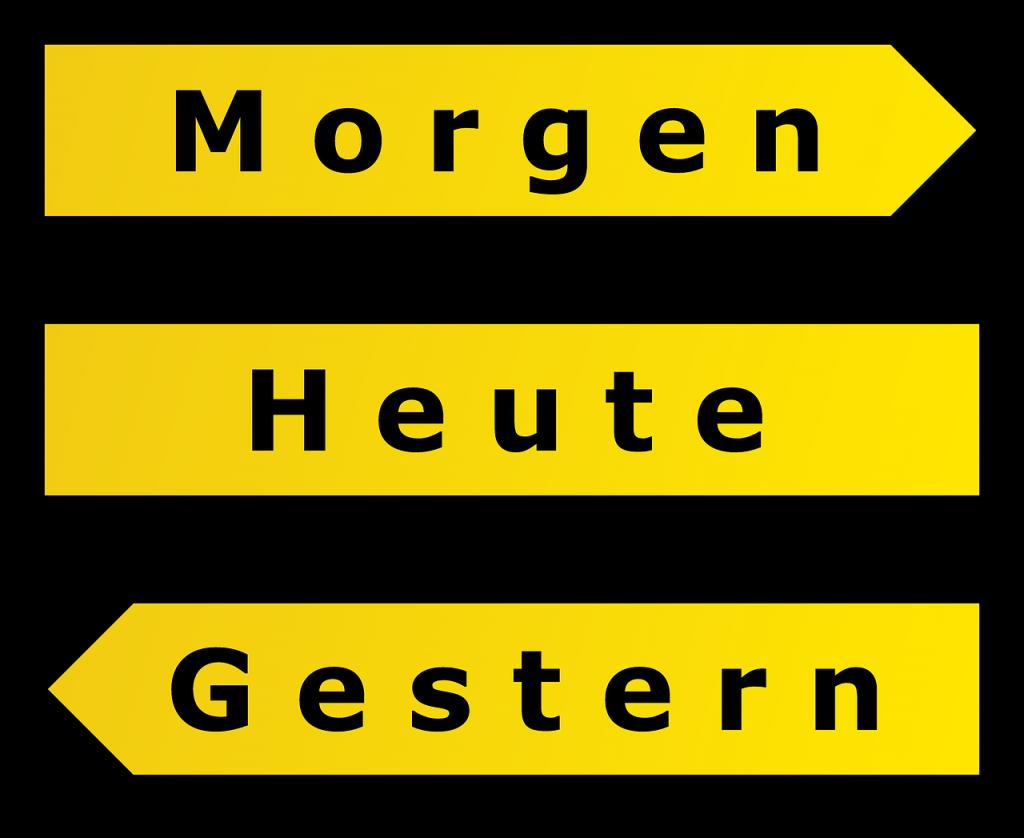 """Drei gelbe Straßenhinweisschilder: """"Gestern"""" - """"Heute"""" - """"Morgen"""""""