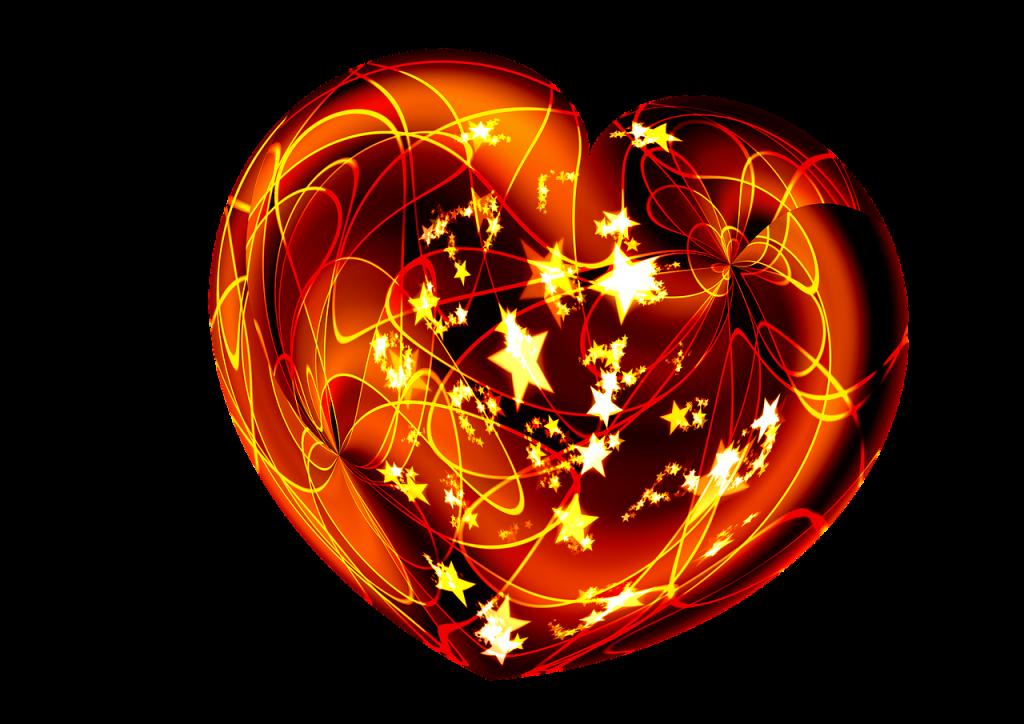 Eine Weihnachtskugel, wie ein Herz geformt, mit funkelnden Sternen
