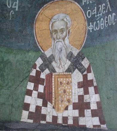 Ein Wandbild des Jakobus im Kloster Gracanica im Kosovo
