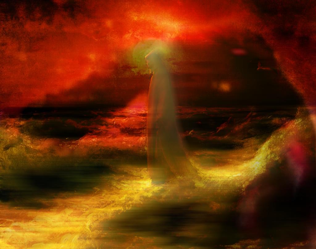 Schemenhafter Jesus, der über ein in roten und gelben Farben schillerndes nächtliches Meer schreitet