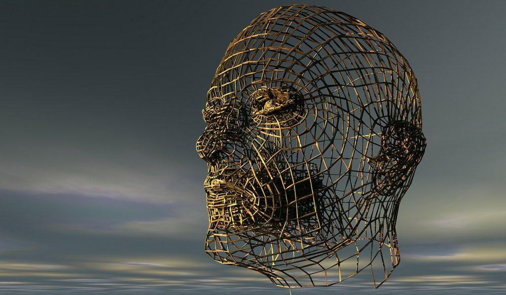 Ein Kopf aus Drahtgeflecht gestaltet