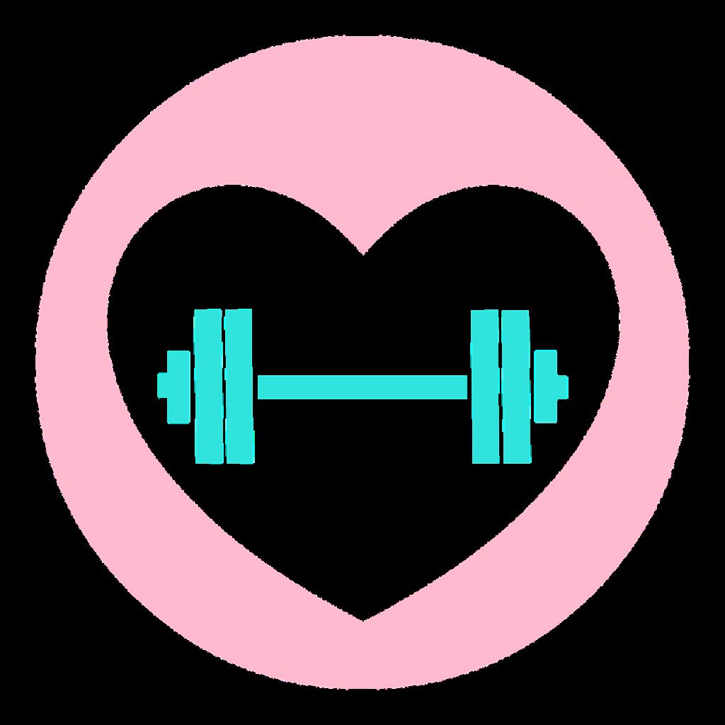 Weißes Herz in rosa Kreis, im Herz ist eine Hantel