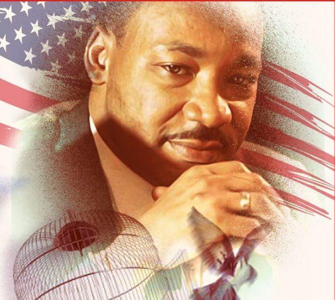Martin Luther Kings Portrait vor amerikanischer Flagge mit zerrissener Kette und geöffnetem Vogelkäfig