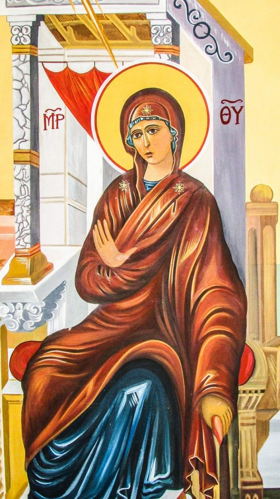 Griechisch-orthodoxe Darstellung der Panagia, der Jungfrau Maria