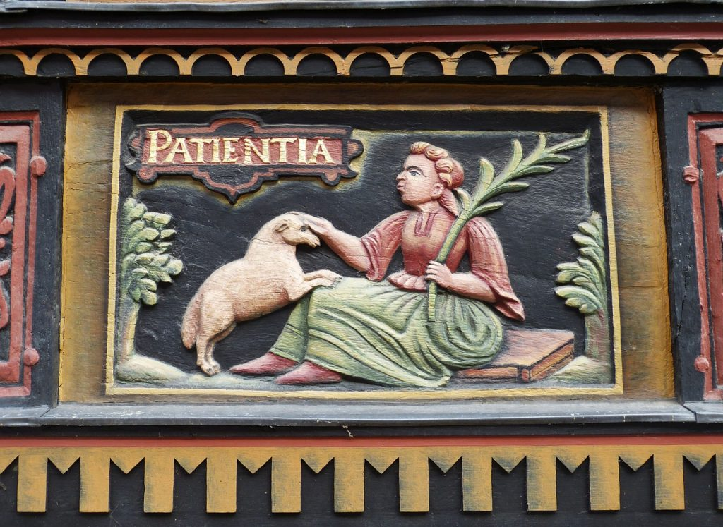 """Ein Hirte sitzt mit Palmenzweig in der Hand zwischen grünen Bäumen, ein Schaf stützt die Vorderbeine auf seinen Schoß, darüber steht das Wort """"patientia"""" - """"Geduld"""""""