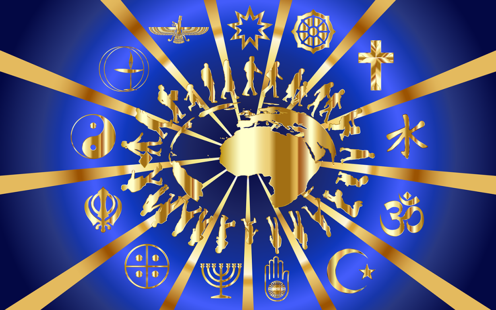 Um den stilisierten Globus laufen Menschen, Strahlen gehen davon aus, die 13 verschiedene Religionen repräsentieren, alles in Gold auf blauem Grund