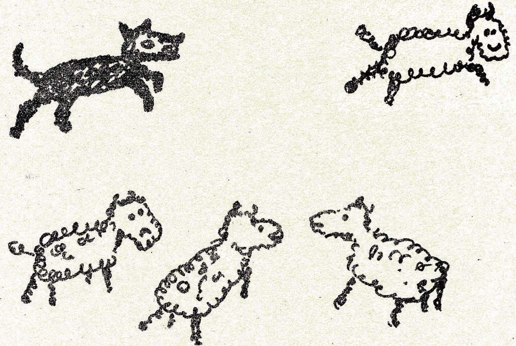 Vier Schäfchen und ein Hirtenhund, einfache Bleistiftzeichnung