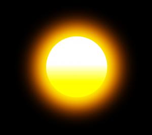 Gleißende Sonne in dunkler Umgebung