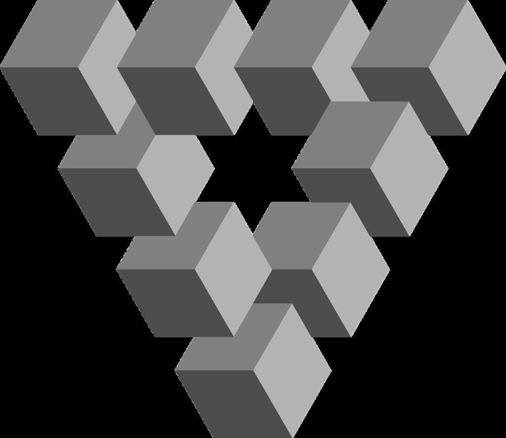 Unmögliches Dreieck aus zehn Würfeln, die topologisch nicht so angeordnet sein können
