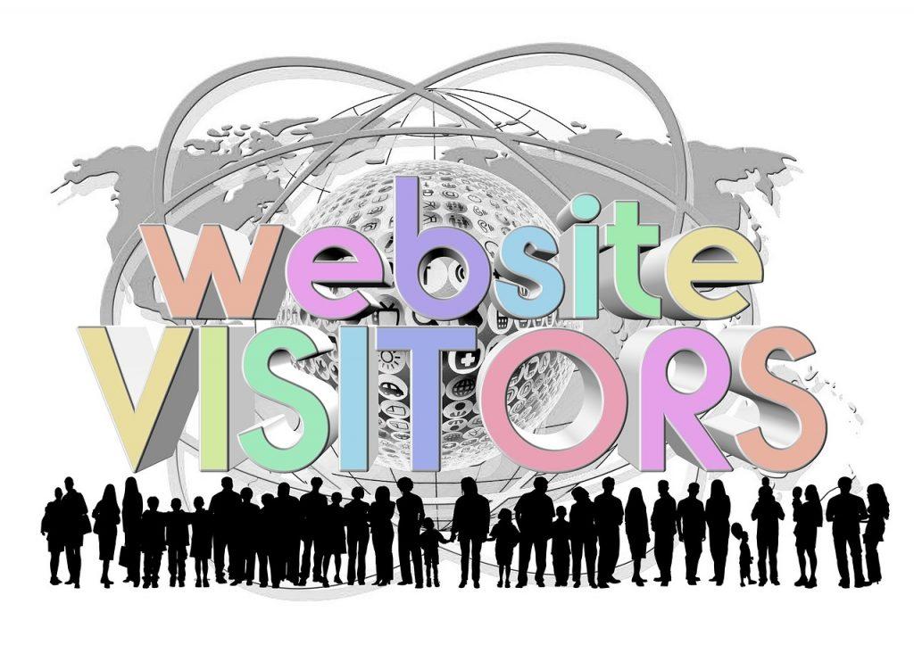 Schriftzug website visitors mit Silhouetten vielen Menschen