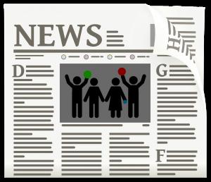 """Eine Zeitung mit dem Titel """"NEWS"""", angedeutetem Schriftsatz und einem Bild mit stilisierter Familie"""
