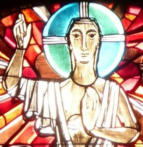 Altarfensterbild: segnender Christus