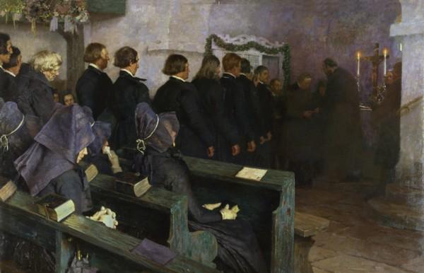 Carl Bantzer, Abendmahlsfeier in Hessen 1892