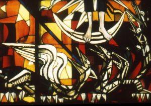 Der Drache auf dem Emporenfenster
