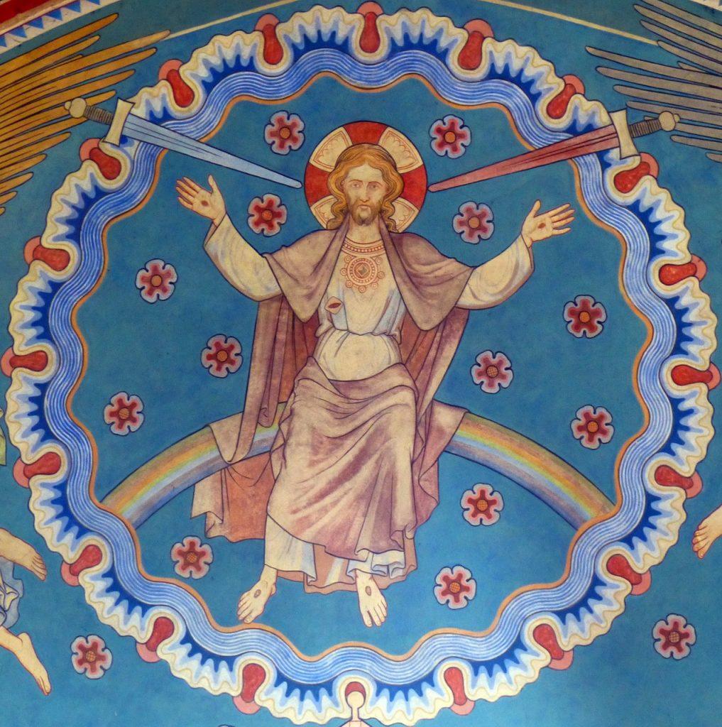 Jesus von Schwertern umgeben mit Kreuzeswunden
