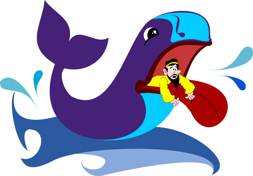 Jona schaut aus dem Maul eines gezeichneten Wals heraus