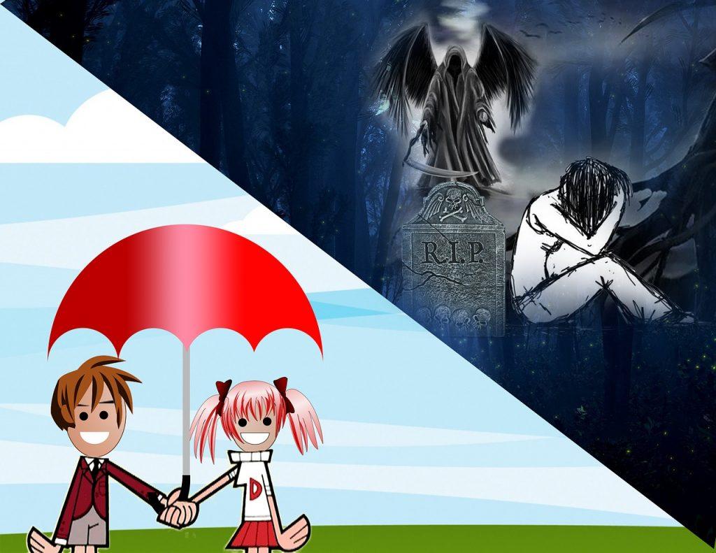 Ein lustiges Pärchen unter rotem Sonnenschirm links unten / Gothic Frau traurig neben Grabstein und Sensenmann in nächtlicher Düsternis rechts oben
