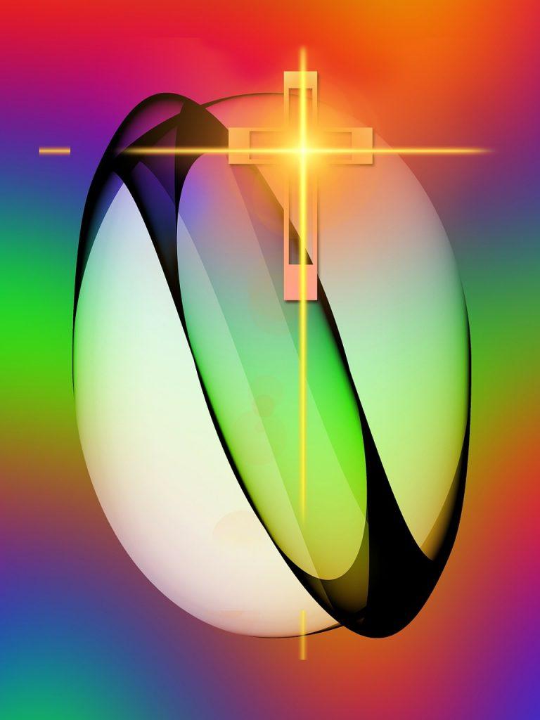 Osterei in abstrakt-verfremdeter farbiger Darstellung mit leuchtend goldgelbem Kreuz