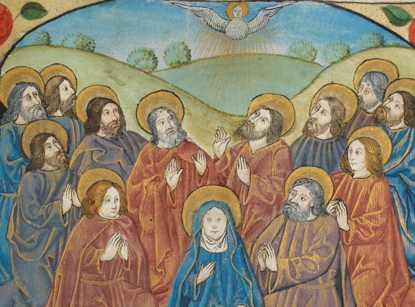 Pfingsten: Zwölf Apostel mit Maria empfangen den Heiligen Geist