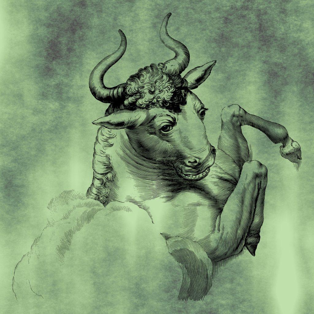 Gezeichneter Stier, der sich wild aufbäumt