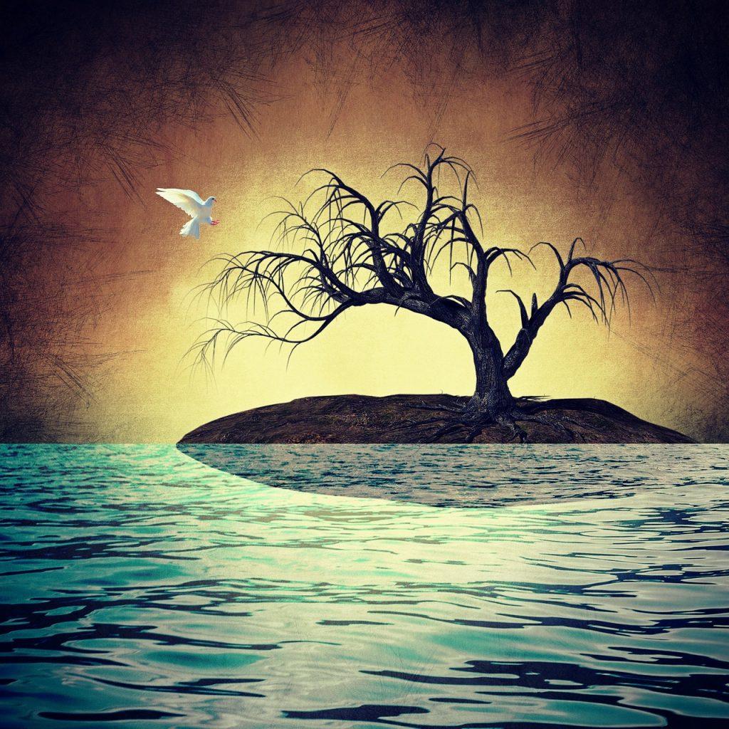 Eine Friedenstaube fliegt zu einem kahlen Baum auf einer Insel