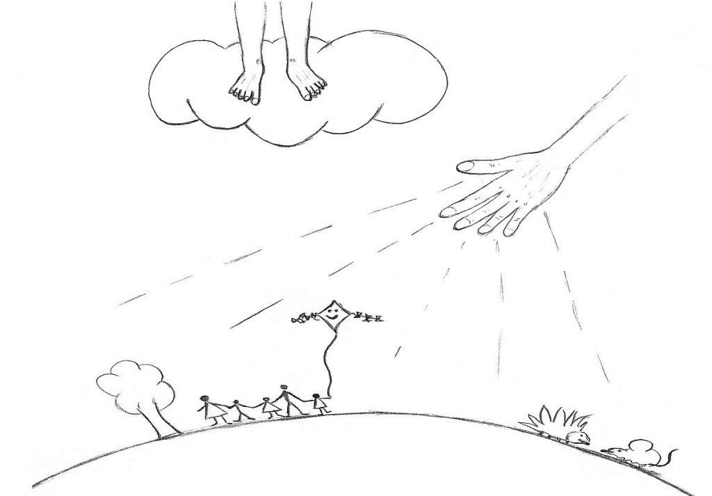 Baum, Familie lässt Drachen steigen, Igel, Maus auf dem Erdenrund, darüber Füße, die im Himmel verschwinden und eine segnende Hand