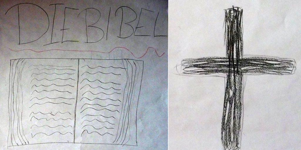 Die Bibel und das Kreuz, von Konfis gemalt