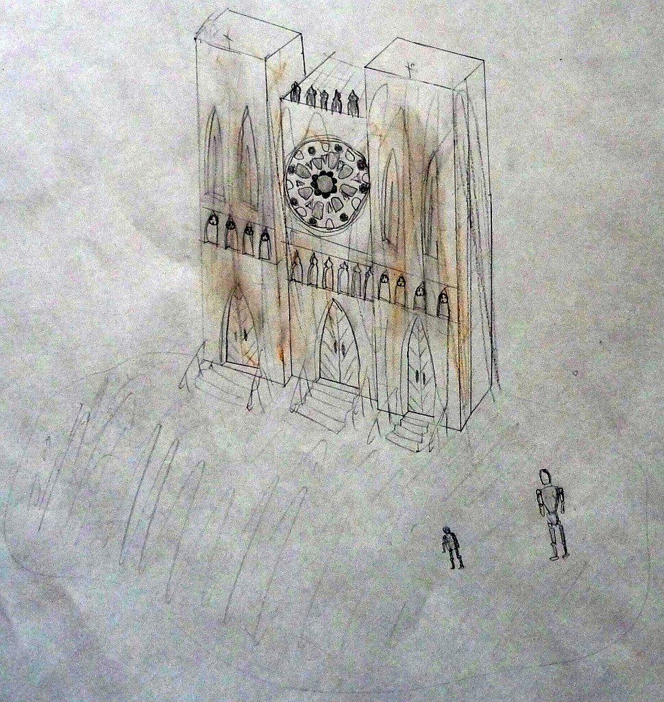 Die Kirche Notre Dame, von einem Konfirmanden gemalt