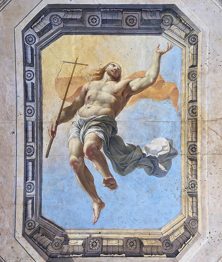 Deckengemälde mit Jesus als siegreichem Auferstandenen