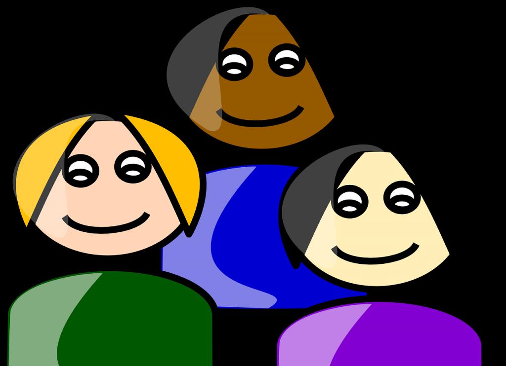 Drei ethnisch verschiedene Frauen als gezeichnete Figuren