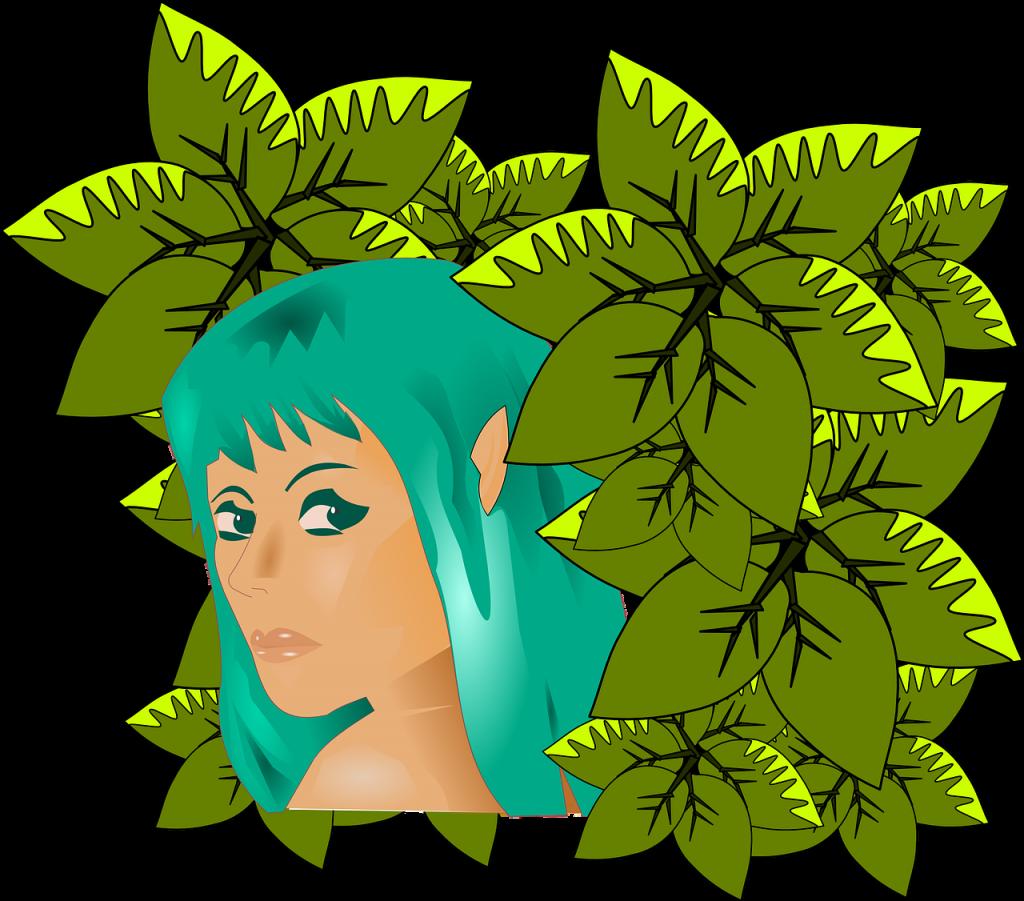 Eva als junge Frau mit türkisen Haaren zwischen grünen Blättern