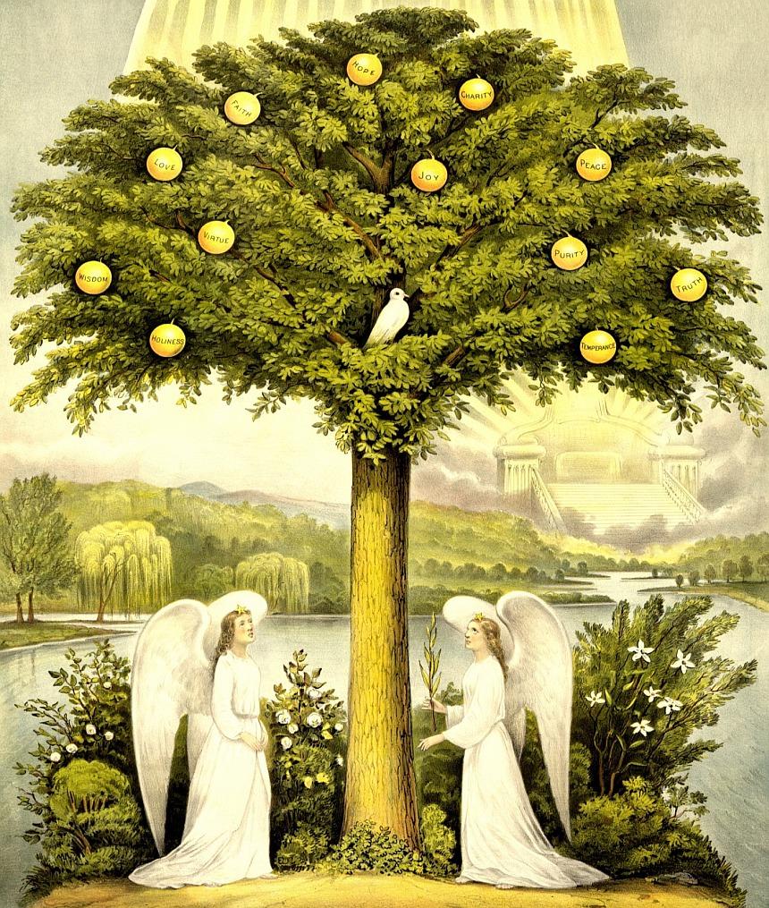 Lebensbaum mit zwei Engeln