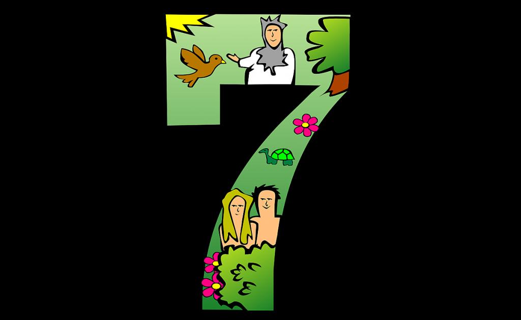Eine Sieben mit Schöpfungsbildern drin